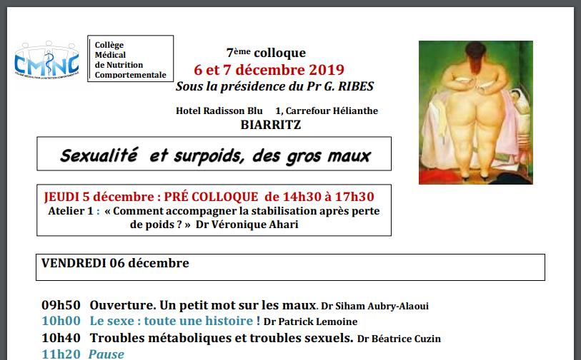 Programme de la conférence Sexualité et surpoids à Biarrits 2019